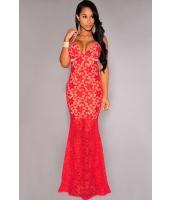 レッド レースルック クリスクロス バック ナイトドレス  ドレス パーティドレス マキシドレス セクシードレス マーメイドラインCC60039-3