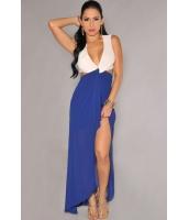 ホワイト ブルー カットアウト サイドスリット マキシドレス  ナイトドレス ドレス パーティドレス セクシードレス セクシーワンピースCC60094-1