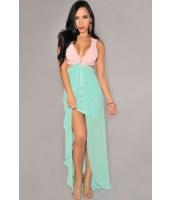 ピンク グリーン カットアウト サイドスリット マキシドレス  ナイトドレス ドレス パーティドレス セクシードレス セクシーワンピースCC60094-2
