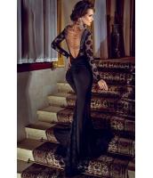 ブラック カクテル ナイト パーティー ロング レース ドレス イブニングドレス cc60101