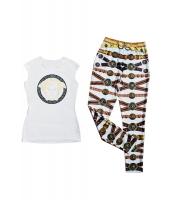 袖なし ホワイト Tシャツ マッチング プリント パンツ  アンサンブル セットもの ロングパンツ トップス セクシーファッションCC60141