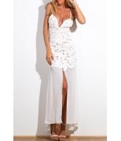 ホワイト 花飾り アップリケ マキシドレス  ナイトドレス ドレス パーティドレス セクシードレス セクシーワンピースCC60142-1