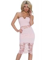ピンク レース入り ノッチ スリップ ドレス  ナイトドレス ドレス パーティドレス セクシードレス セクシーワンピースCC60143-1