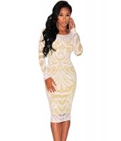 ホワイト 大きいサイズ ビクトリアン ネット ヌード イリュージョン 長袖 ドレス cc60469-1p