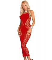 レッド ジグザグ カット シームレス ロング ドレス cc60533-2