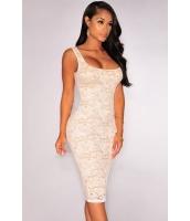 ホワイト 花柄 レース ヌード イリュージョン ノースリーブ・袖なし ドレス ミディドレス cc60564-1