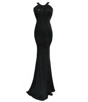 ブラック シークイン トリム ジャージー ガウン イブニングドレス cc60589-2