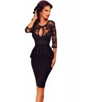 7分 袖丈 刺繍 ブラック ぺプラム ドレス cc60609