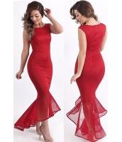 レッド チュール マーメイド ノースリーブ・袖なし ロング パーティー ドレス イブニングドレス cc60615-1