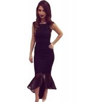 ブラック チュール マーメイド ノースリーブ・袖なし ロング パーティー ドレス イブニングドレス cc60615-2