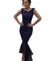 チュール マーメイド ノースリーブ・袖なし ロング パーティー ドレス イブニングドレス cc60615-3