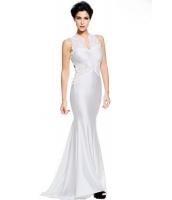ホワイト オープン バック ファイン 花柄 マキシ ウェディング ガウン イブニングドレス cc60639-1