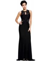 ブラック オープン バック ファイン 花柄 マキシ ウェディング ガウン イブニングドレス cc60639-2