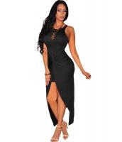 ブラック 結び目 スリット ドレス ミディドレス cc60658-102