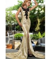 【即納】ゴールド シークイン スプリット フロント マーメイド プロム ドレス イブニングドレス tk-cc60684-3-l-gd【カラー:ゴールド】【サイズ:L】