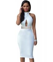 ホワイト ジュエリー ウエスト ホルターネック ドレス ミディドレス cc60794-1