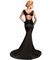 ブラック シークイン バックレス リボン 入り マーメイド ナイトドレス イブニングドレス cc60825-2