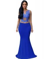 ロイヤル ブルー ヌード メッシュ アクセント マキシ ドレス イブニングドレス cc60831-2
