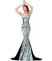 シルバー シークイン 飾り エレガントマーメイド ナイトドレス イブニングドレス cc60844-1