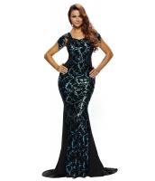 ブラック シークイン 飾り エレガントマーメイド ナイトドレス cc60844-2