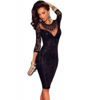 ブラック レース 刺繍 ネックレス ナイトドレス イブニングドレス cc60856