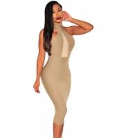 モック ネック のぞき ホール ドレス ミディドレス cc60880-1
