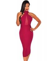 ワインレッド モック ネック のぞき ホール ドレス ミディドレス cc60880-3