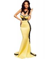 イエロー & ブラック レース スポンジ バスト マキシ マーメイド ドレス イブニングドレス cc60914-7