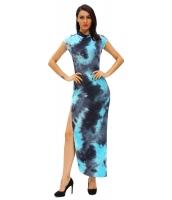 青みがかった タイ ビンテージ 半袖 チョンサン ドレス cc60955-4
