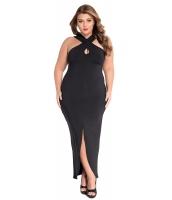 ブラック 大きいサイズ クロス ホルターネック ジャージー ドレス cc61034-2