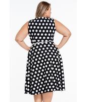 ブラック 大きいサイズ ドット・水玉 ボヘミアン プリント ドレス キーホール lc61043-2p