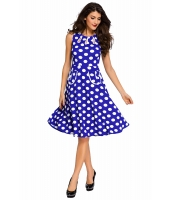 ブルー ドット・水玉 ボヘミアン プリント ドレス キーホール lc61043-5