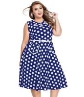 ブルー 大きいサイズ ドット・水玉 ボヘミアン プリント ドレス キーホール lc61043-5p