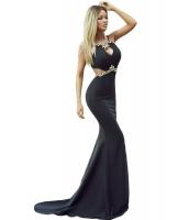 ダイヤ 飾り セクシー カットアウト ブラック マーメイド プロム ドレス イブニングドレス cc61052-2