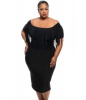 ブラック 半袖 フリンジ トップス 大きいサイズ ドレス cc61055-2