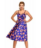 ブルー ピンアップ デジタル 花柄 スイング ビンテージ ドレス cc61063-5
