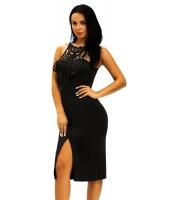 ブラック 刺繍 トップス フロント スリット パーティー ドレス cc61069-2