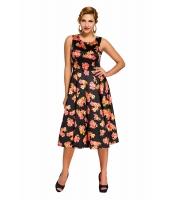 ブラック デジタル 花柄 ビンテージ スイング ドレス cc61114-2