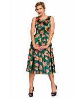 グリーン デジタル 花柄 ビンテージ スイング ドレス cc61114-9