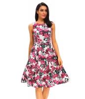 エレガントノースリーブ・袖なし パーティー 花柄 フレア ハイウエスト ビンテージ ドレス cc61142-22