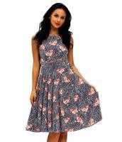 フレア ノースリーブ・袖なし ハイウエスト 花柄 ビンテージ ドレス ベルト cc61147-22