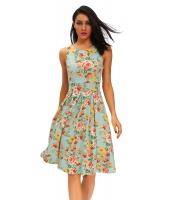 ビンテージ シック 50 スイング パーティー 花柄 フレア ドレス ミント cc61148-22