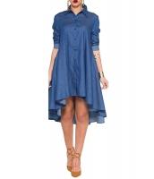 ブルー デニム 襟 シャツ 長袖 ミディ ドレス cc61215-5