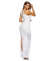 ホワイト メッシュ ロング マキシ ノースリーブ・袖なし ドレス cc61280-1