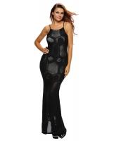 ブラック メッシュ ロング マキシ ノースリーブ・袖なし ドレス cc61280-2