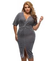 グレー 着物 袖 結び目 プリーツ フロント 大きいサイズ ドレス cc61307-11