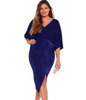 ブルー 着物 袖 結び目 プリーツ フロント 大きいサイズ ドレス cc61307-4