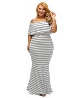 グレー ホワイト ストライプ フリル チューブ 大きいサイズ マキシ ドレス lc61311-11