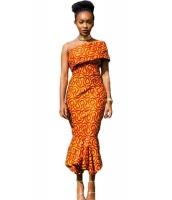 シングル ショルダー マーメイド 裾周り アフリカ プリント ドレス cc61315-22