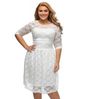 ホワイト 7分 袖 レース ウェディング 大きいサイズ ドレス cc61317-1
